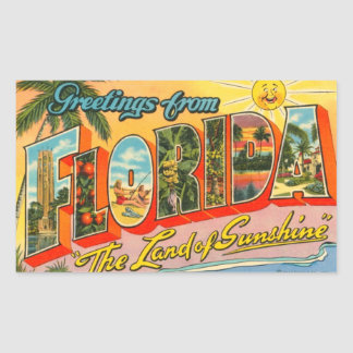 Salutations de carte postale de cru de la Floride Autocollants Rectangulaires