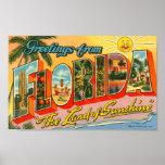 Salutations de carte postale de cru de la Floride Posters