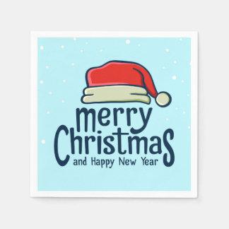 Salutations de Joyeux Noël avec le chapeau de Père Serviette En Papier