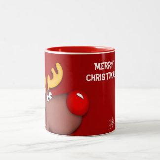 Salutations de Noël de Rudolf Mug Bicolore