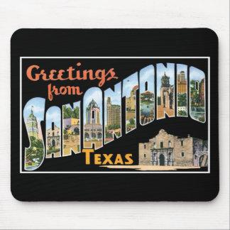 Salutations de San Antonio, le Texas ! Rétro carte Tapis De Souris