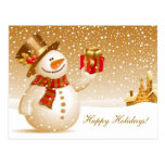 Salutations de vacances de bonhomme de neige de cartes postales