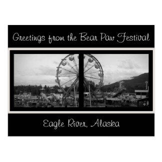Salutations du Festival-Alask de patte d'ours Carte Postale