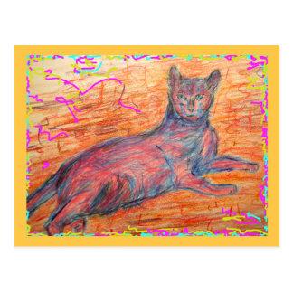 salutations ensoleillées de chat de pavé rond cartes postales