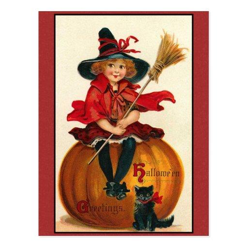 Salutations fille vintage et chat de Halloween Carte Postale