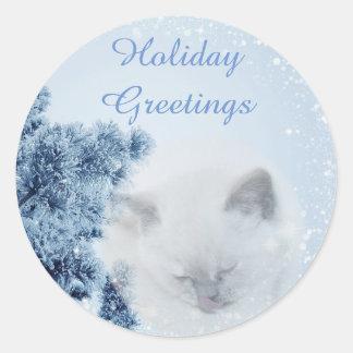 Salutations neigeuses de vacances d'hiver de beau sticker rond