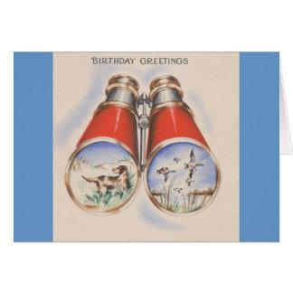 Salutations vintages d'anniversaire de chasseur cartes de vœux
