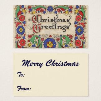 Salutations vintages de Noël avec la frontière Cartes De Visite