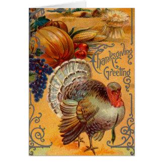 Salutations vintages de thanksgiving carte de vœux