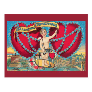 Salutations vintages de Valentine Carte Postale