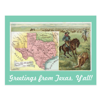 Salutations vintages du Texas vous Carte Postale