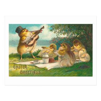 Salutations vintages mignonnes musicales de Pâques Carte Postale