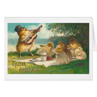 Salutations vintages mignonnes musicales de Pâques Cartes De Vœux