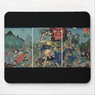 Samouraïs à la peinture de guerre circa 1800's tapis de souris