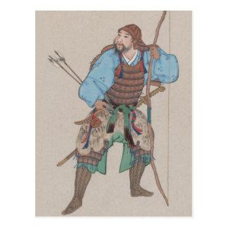 Samouraïs avec la carte postale d'arc et d'épée