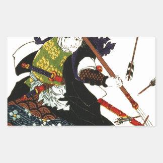 Samouraïs de Ronin guidant l'art du Japon de Sticker Rectangulaire