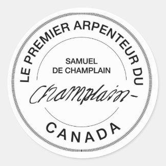 Samuel de Champlain Arpenteur du Canada Autocollant Rond