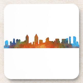 San Diego Californie Ville Skyline Watercolor v01 Dessous-de-verre
