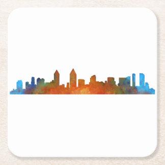 San Diego Californie Ville Skyline Watercolor v01 Dessous-de-verre Carré En Papier
