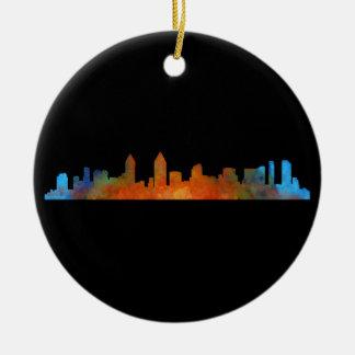 San Diego Californie Ville Skyline Watercolor v01 Ornement Rond En Céramique