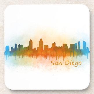 San Diego Californie Ville Skyline Watercolor v03 Dessous-de-verre