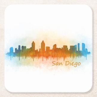 San Diego Californie Ville Skyline Watercolor v03 Dessous-de-verre Carré En Papier