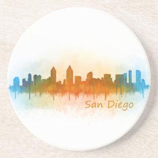 San Diego Californie Ville Skyline Watercolor v03 Dessous De Verre En Grès