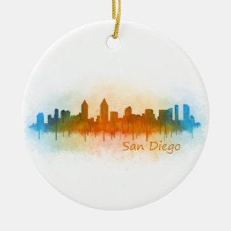 San Diego Californie Ville Skyline Watercolor v03 Ornement Rond En Céramique