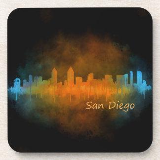 San Diego Californie Ville Skyline Watercolor v04 Dessous-de-verre