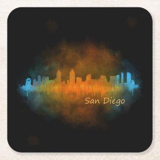 San Diego Californie Ville Skyline Watercolor v04 Dessous-de-verre Carré En Papier