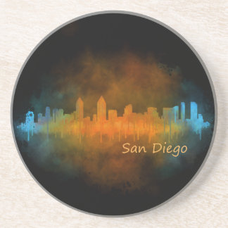 San Diego Californie Ville Skyline Watercolor v04 Dessous De Verre En Grès