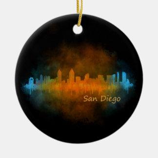 San Diego Californie Ville Skyline Watercolor v04 Ornement Rond En Céramique