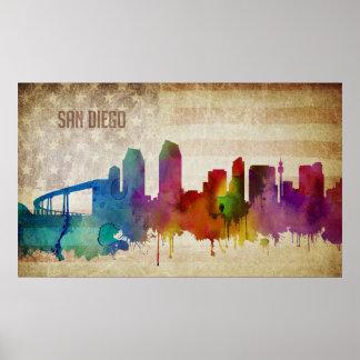 San Diego, horizon de ville d'aquarelle de CA | Poster