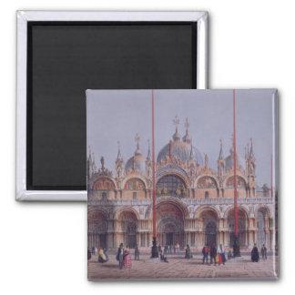 San Marco, Venise, gravée par Brizeghel (litho) Magnet Carré