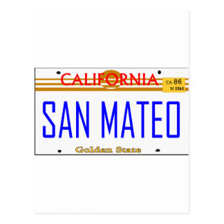 San Mateo, Ca Lincense -- T-shirt Carte Postale