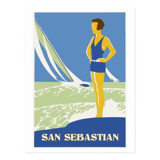 San Sebastian, voyage d'art de vecteur rétro Carte Postale