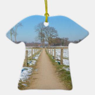 Sandpath entre les prés neigeux en hiver ornement t-shirt en céramique