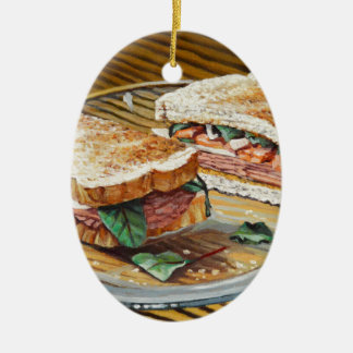 Sandwich à jambon, à salami et à fromage ornement ovale en céramique