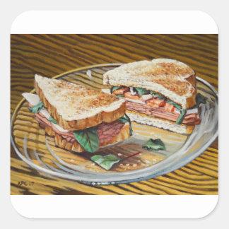 Sandwich à jambon, à salami et à fromage sticker carré