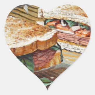 Sandwich à jambon, à salami et à fromage sticker cœur