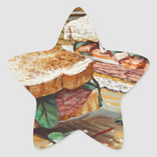 Sandwich à jambon, à salami et à fromage sticker étoile