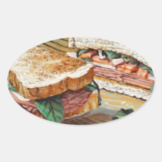 Sandwich à jambon, à salami et à fromage sticker ovale