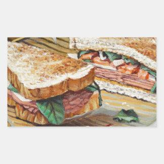 Sandwich à jambon, à salami et à fromage sticker rectangulaire