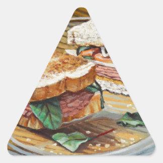 Sandwich à jambon, à salami et à fromage sticker triangulaire