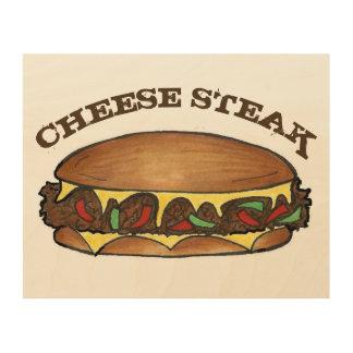 Sandwich à la viande de fromage de Cheesesteak de Impression Sur Bois