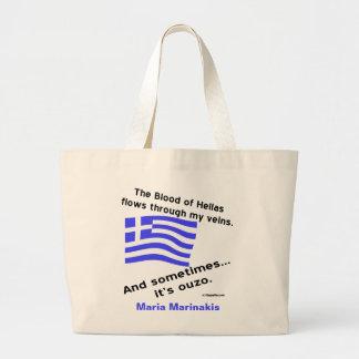 Sang de l'Hellade de drapeau et ouzo et nom grecs Grand Sac