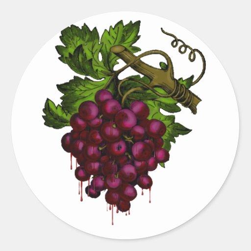 Sang d'égoutture de groupe de raisin autocollant rond