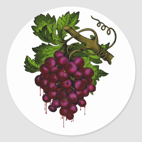 Sang d'égoutture de groupe de raisin sticker rond