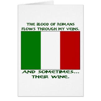 Sang romain et vin carte de vœux