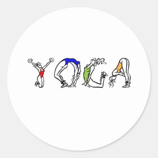 santé de forme physique de yoga autocollant rond